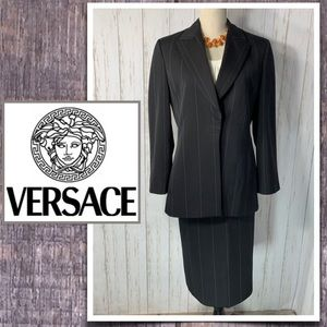 Gianni Versace Couture Navy Pinstripe Skirt Suit